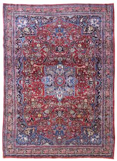 Landry & Arcari - Antique Bijar Rug Z7255, Hand-knotted in Persia; 8 ft 11 in x 12 ft 2 in