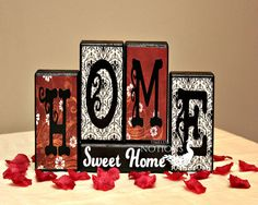 Home Sweet Home Wood Blocks Décor #HEPteam