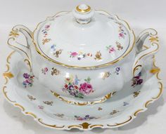 GERMAN WHITE PORCELAIN SOUP TUREEN WITH UNDER  TRAY //  Found on liveauctioneers.com