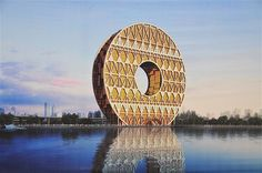 Image: Artist's rendition of the coin-shaped Guangzhou Yuan Tower, literally Guangzhou Round Tower, on the bank of the Pearl River in Guangz...
