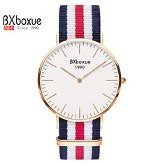 BXboxue Luxury Brand Quartz Watch 2016 Women Fashion Gold Dial Nylon Strap Watch Men Casual Simple Wristwatch Relogio Feminino #>=#>=#>=#>=#> Click on the pin to check out discount price, color, size, shipping, etc. Save and like it!