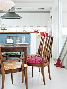 Vintage fabrics on Danish Modern dining chairs - MyHomeIdeas.com