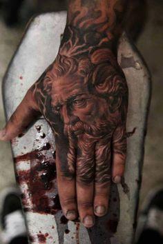 Zeus hand tattoo by QTattoo Lee