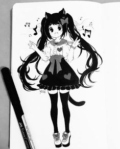 Hi~ On here Yoai posts her artwork and photos of herself/food/snacks/kawaii things she finds! If you play mabi, Yoai is Cicishu on the Mari server, feel free to add/note~ Anime Drawings Sketches, Anime Sketch, Kawaii Drawings, Manga Drawing, Manga Art, Cute Drawings, Art Anime, Anime Art Girl, Kawaii Anime Girl