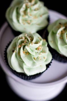 Cupcakes pistache et coeur de Nutella