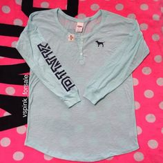 VS PINK Varsity Henley Tee New with tags. Oversized fit. Light blue color.  No trades. I have this listed for less on Ⓜ️ercari Use code FWXENR when you sign up for $2 off first purchase  Search vspink_forsale to find my closet  PINK Victoria's Secret Tops Tees - Long Sleeve