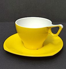 yellow Melaware cup and saucer