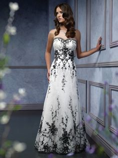 $209.99 Engrossing Black and White Sweetheart Empire Lace Beads Working Satin Wedding Attire In Canada Wedding Dress Prices CW-019 - ca-bridals.com