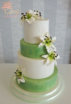 Gorgeous white & green spring wedding cake with gum paste stargazer lilies