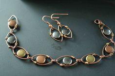 Wire Wrapped Earrings Bracelet Set Autumn Beads Copper Jewelry. $30.00, via Etsy.