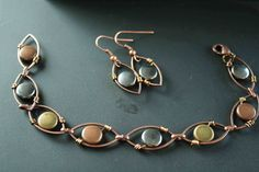 Wire Wrapped Earrings Bracelet Set Autumn Beads Copper Jewelry. $30.00, via Etsy.