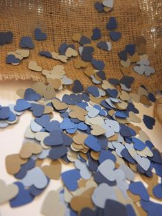 Shades of Blue Wedding Confetti Hearts - Biodegradable - Kraft Paper Heart Confetti - Rustic Wedding Decor - Engagement Party Decor - Sweethearts See more here: https://www.etsy.com/listing/241694326/shades-of-blue-wedding-confetti-hearts?ref=shop_home_active_21