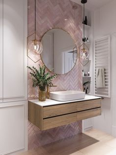 Elegant and luxurious bathroom design ideas for a stylish decor -. - furnishing ideas elegant and luxurious bathroom design ideas for a stylish decor - Pink Bathroom Tiles, Modern Bathroom, Small Bathroom, Master Bathrooms, Boho Bathroom, Bathroom Goals, Bathroom Mirrors, Farmhouse Bathrooms, Bathroom Inspo