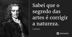 Sabei que o segredo das artes é corrigir a natureza. — Voltaire