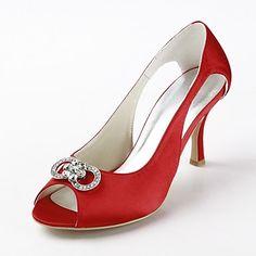 szatén tűsarkú peep toe szivattyúk / szandál, gumis esküvői cipő (több szín) – EUR € 42.97
