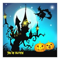 #Halloween Party Invite witch flying haunted castle - #trendy #gifts #template