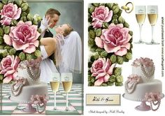 OUR BEAUTIFUL DAY A DAY TO REMEMBER on Craftsuprint designed by Nick Bowley - OUR BEAUTIFUL DAY! A DAY TO REMEMBER, Adorned with cascading pink roses and a wedding cake makes a lovely wedding card - Now available for download!