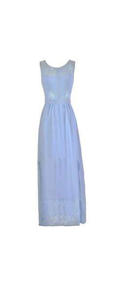 Ethereal Girl Lace Panel Maxi Dress in Periwinkle Blue  www.lilyboutique.com