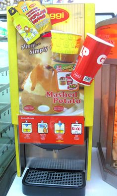 A Mashed Potato & Gravy Vending Machine at 7-Eleven