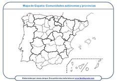Artículo en el que se presentan mapas para imprimir y descargar de España, por provincias y comunidades autónomas y de cada una de las comunidades