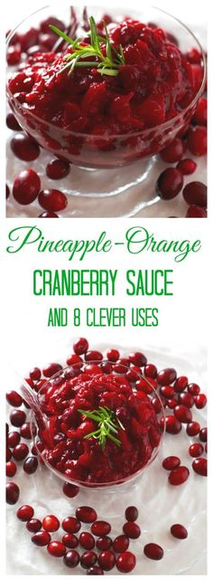 Pineapple-Orange Cranberry Sauce has a wonderfully balanced sweetness with only 4 ingredients! You'll love this cranberry sauce recipe. Plus eight clever uses for leftover cranberry sauce! #cranberrysauce #cranberrysaucerecipes #holidayrecipes #christmasrecipes #christmasideas #christmas