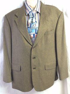Oscar de La Renta Sport Coat 42S Silk Blend Blazer 3 Button Menswear Houndstooth #OscarDeLaRenta #TwoButton