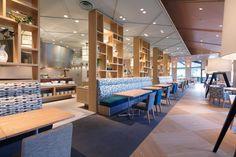 カジュアル リゾート ダイニング セリーナ CASUAL RESORT DINING SERINA. Designer: Fumihiko Fujii Restaurant Interior Design, Office Interior Design, Shop Interiors, Office Interiors, Bookstore Design, Hotel Buffet, Work Cafe, Hotel Lobby, Innovation