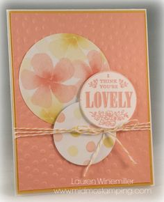 Stampin' Up! Watercolor Wonder dsp, You're Lovely Sale-a-Bration 2014 set, Sunday Card Sketch. Details @ www.midmostamping.com