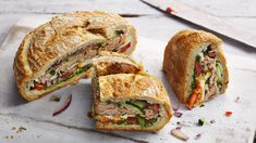 Rick Stein's picnic loaf sandwich makes a great on-the-go lunch option or is perfect for a summer picnic. Pan Bagnat, Tuna In Olive Oil, Rick Stein, Picnic Sandwiches, Creamy Mushroom Sauce, Tinned Tomatoes, Sandwich Recipes, Sandwich Ideas, Sandwich Fillings