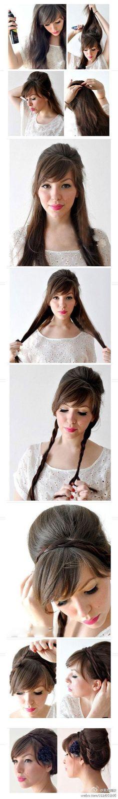 Love the heavy bangs! via 20 - DIY Braided Hairstyle