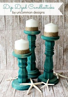 DIY dip dyed candlesticks.