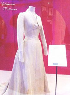 Here is the actual Maria's Wedding Dress film costume from the Sound of Music!  Pictures from http://www.edelweisspatterns.com/blog/?p=4324