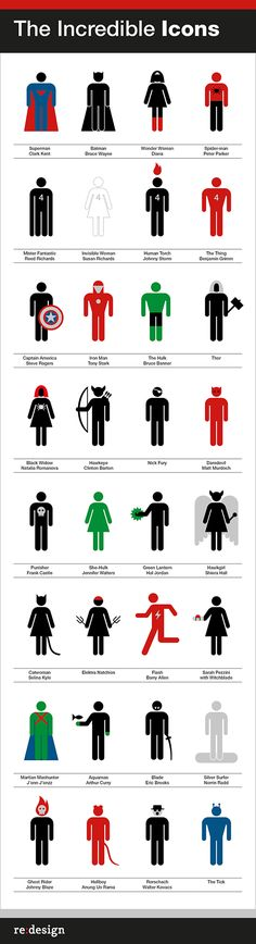 The incredible Icons from re:design.  DC Universe superheroes done in the style of Aiga icons.