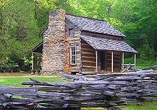 Replica of James K. Polk birthplace on outskirts of Charlotte, North Carolina
