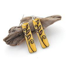 Long Rectangle Wood Dangle Earrings, Yellow & Brown, Everyday Simple…