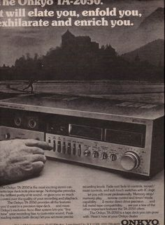 1981 Onkyo TA-2050 stereo cassette deck. #mp3player #mp3 #player #cassette #tape Racking System, Fade Out, Tape Recorder, Vintage Ads, Deck, Cassette Tape, Mp3 Player, Audio, Electronics