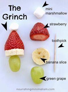 Grinch Kebabs - cute Christmas appetisers