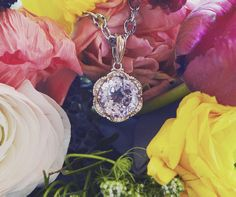 Can you spot it? A diamond, rose gold and amethyst floral pendant from the Tacori Blushing Rose collection.