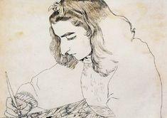 traits tracés ₪ arpad szenes marie helene au travail (budapest I897 † paris I985) peintre non figuratif français d'origine hongroise, appartenant à la nouvelle école de paris (dessin drawing) XXe