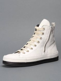 ANN DEMEULEMEESTER WHITE ANKLE SNEAKERS WITH LACE UP AND SIDE ZIP CLOSURE