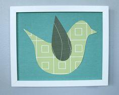 Green Bird 001  girls bird nursery art  green and by PaperPrints, $25.00