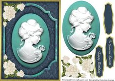 Beautiful Cameo on teal frame with roses  on Craftsuprint - Add To Basket!