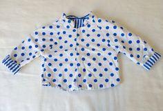 Polka dot toddler jacket 2T Coat in royal blue by LazerBabyVintage, $19.00