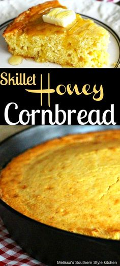Make this Skillet Honey Cornbread in your cast iron skillet and enjoy the crispy bottom and sides that only cast iron can give. Honey Cornbread, Homemade Cornbread, Cornbread Recipes, Homemade Breads, Fall Recipes, Sweet Recipes, Holiday Recipes, Iron Skillet Recipes, Cast Iron Skillet Cornbread