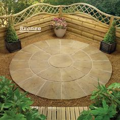 Small Circular Patio Symetrical Design Garden