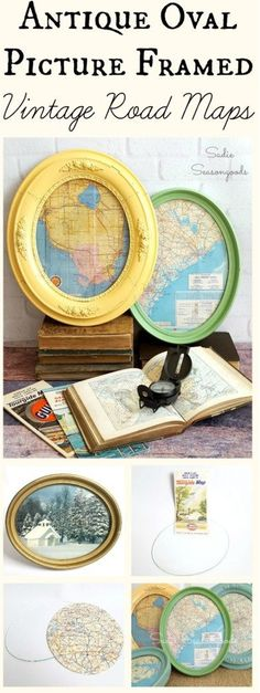 Antique oval frames from the thrift store.when paired with snippets from a vintage road map make for fantastic wall art & decor! Easy to make with stunning results, this repurpose / upcycle DIY project is perfect for a den, office, or man cave. Upcycled Crafts, Repurposed, Map Wall Art, Wall Art Decor, Framed Wall, Diy Art, Craft Font, Oval Picture Frames, Picture Wall