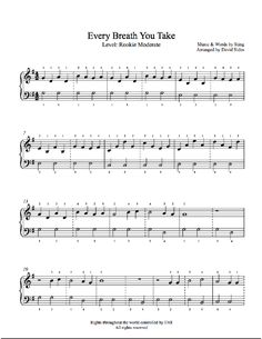 Every Breath You Take by The Police Piano Sheet Music | Rookie Level