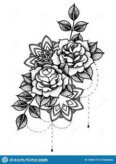 Flower with string of beads. Illustration about flower indian muslim drawing frame arabic drawn mehndi design ethnic hand illustration - 138421773 Floral Tattoo Design, Mandala Tattoo Design, Henna Tattoo Designs, Tattoo Sleeve Designs, Flower Tattoo Designs, Mandala Flower Tattoos, Flower Tattoo Drawings, Mandala Rose, Rose Tattoos