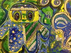 Jon Burgerman inspired collaborative paintings Year 5