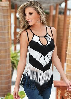 Start the season with a statement of tie dye and fringe! Venus tie dye and fringe top.